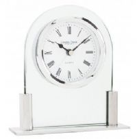 GLASS & SILVER FINISH ARCH TOP MANTEL CLOCK